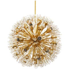 Huge Gold-Plated Blowball Sputnik Chandelier Emil Stejnar Attr., Rupert Nikoll