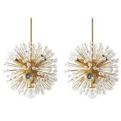 Pair of Blowball Sputnik Gold-Plated Chandeliers Emil Stejnar Attributed, Nikoll