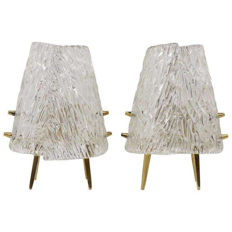 A Pair Kalmar Brass & Textured Glass Mid-Century Table Lamps, Austria, 1950s
