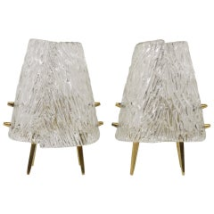 A Pair Kalmar Brass & Textured Glass Mid-Century Table Lamps, Austria, 1950s