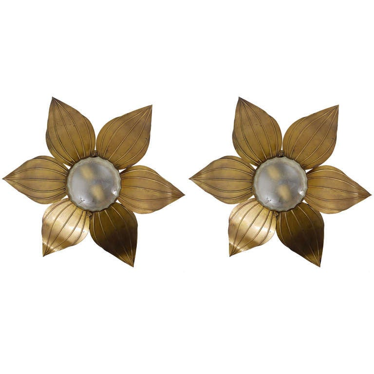 Wall Sconces With Flowers : Pair of French Floral Leaves Brass Sconces Sunburst Flower Leaf Wall Lamps from the 1950s For ...
