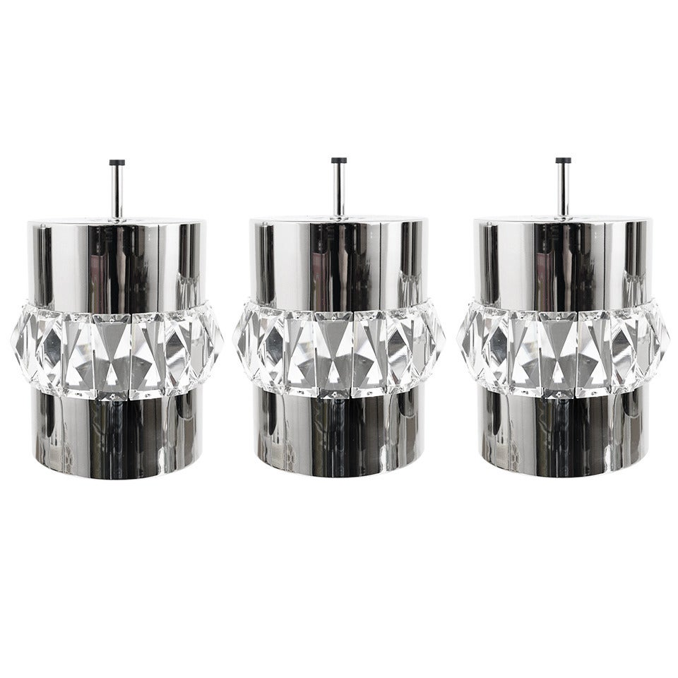 Three Bakalowits Nickel, Brass and Crystal Pendant Lamps, Austria, 1950s