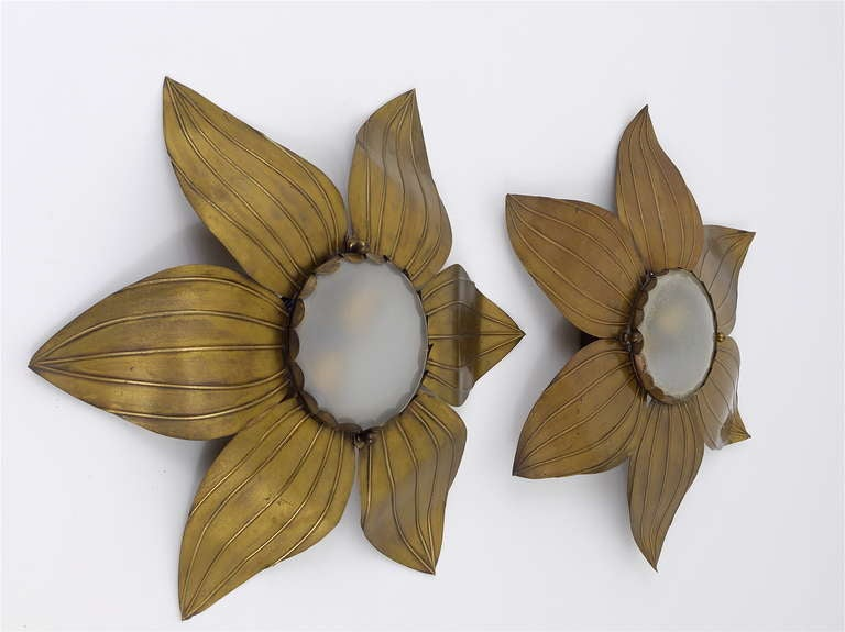Mid-Century Modern Pair of French Floral Leaves Brass Sconces Sunburst Flower Leaf Wall Lamps, 1950 For Sale