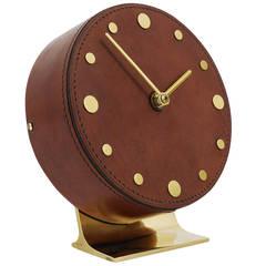 Carl Aubock Modernist Leather Brass Clock, Vienna, 1950s