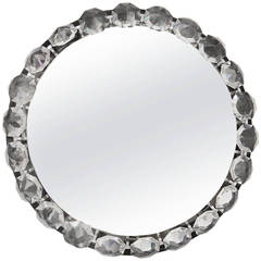 Bakalowits Vienna Round Backlit Wall Mirror with Huge Crystals, Austria, 1950s