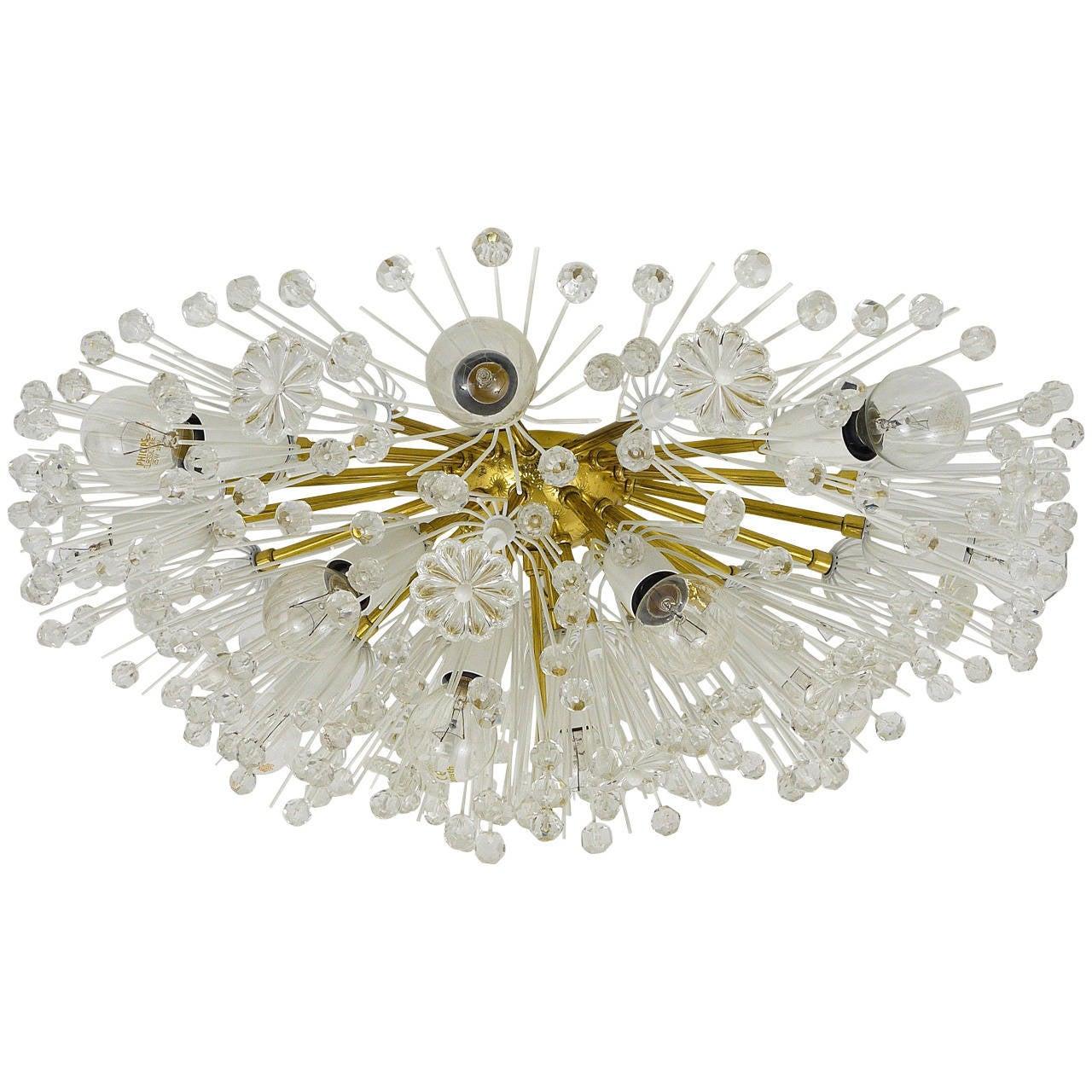 Austrian Emil Stejnar Brass Crystal Flush Mount or Sconce, Rupert Nikoll, 1950s For Sale