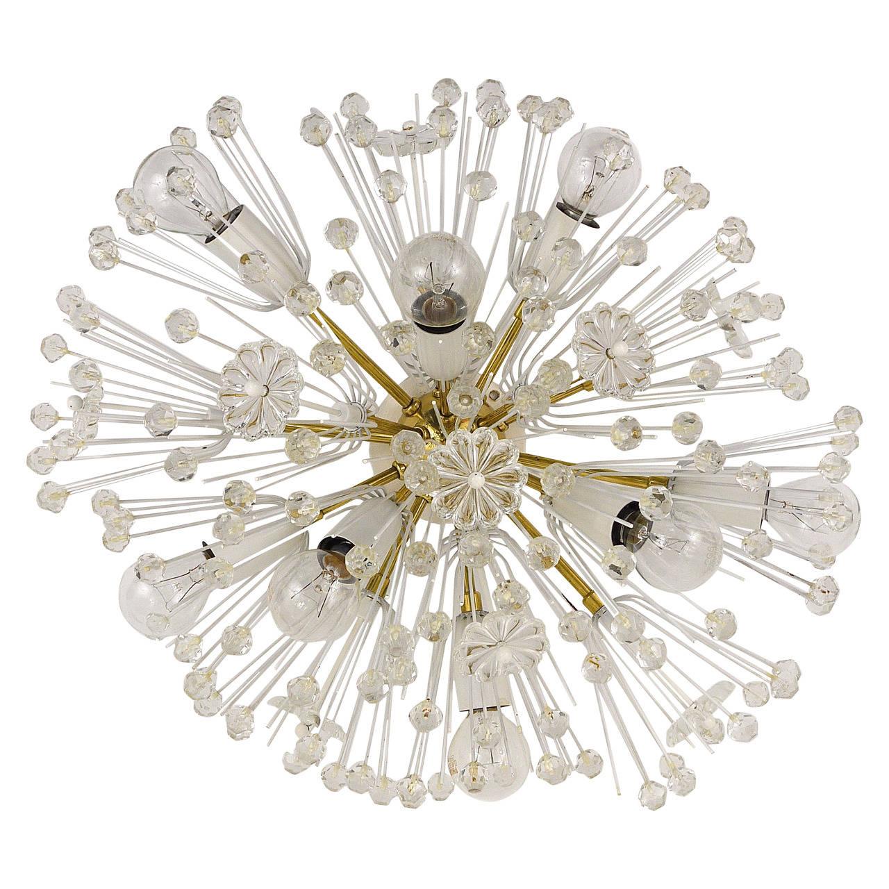 Oval Emil Stejnar Brass Crystal Flush Mount or Sconce, Rupert Nikoll, 1950s