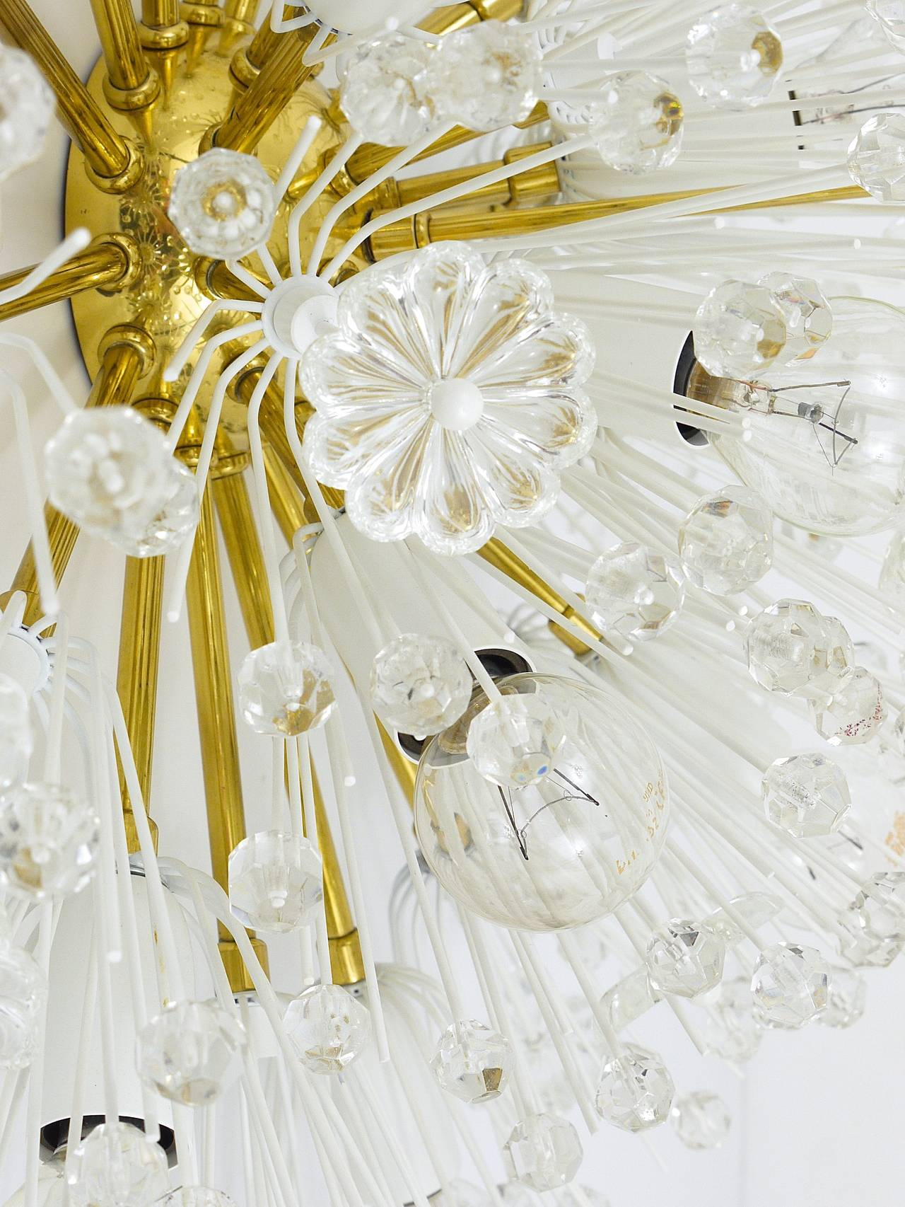 Austrian Emil Stejnar Brass Crystal Flush Mount or Sconce, Rupert Nikoll, 1950s In Excellent Condition For Sale In Vienna, AT