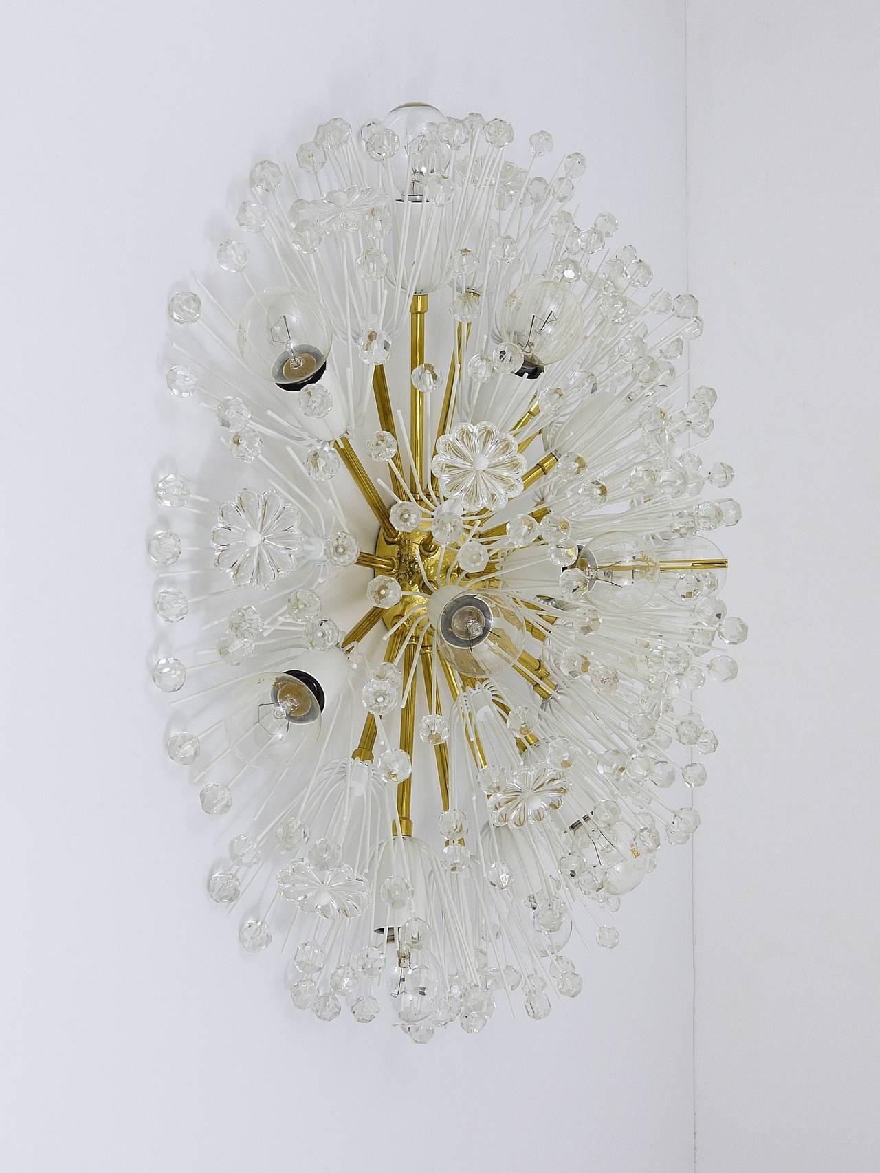 20th Century Austrian Emil Stejnar Brass Crystal Flush Mount or Sconce, Rupert Nikoll, 1950s For Sale