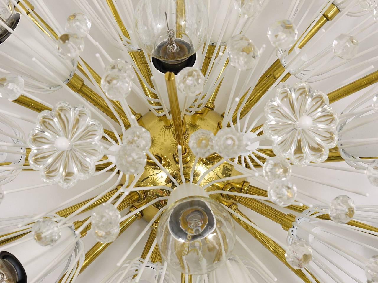 Austrian Emil Stejnar Brass Crystal Flush Mount or Sconce, Rupert Nikoll, 1950s For Sale 3