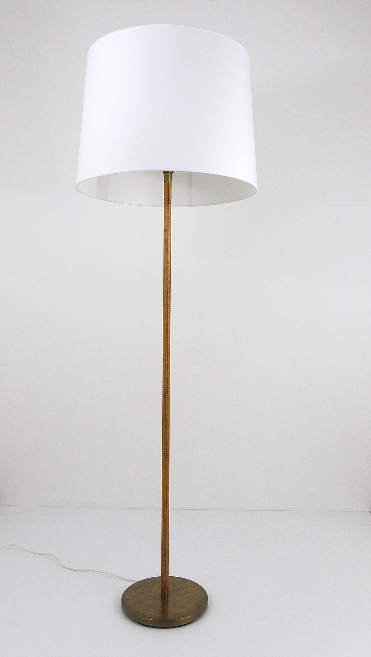austrian leather brass height adjustable floor lamp 1960s at 1stdibs. Black Bedroom Furniture Sets. Home Design Ideas