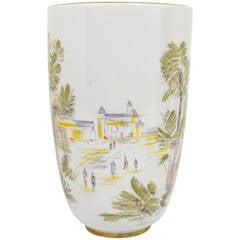 Große deutsche Jahrhundertmitte handbemalte Porzellan Vase von Hutschenreuther, 1950er Jahre
