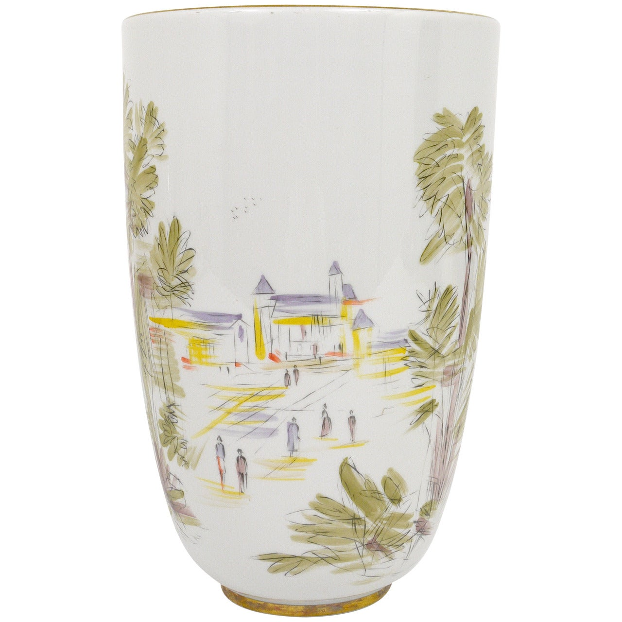 Huge German Mid-Century Handpainted Porcelain Vase by Hutschenreuther, 1950s