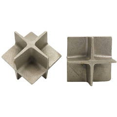 Carl Auböck Modernist Cube Nickel-Plated and Cast Iron Bookends, Austria