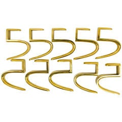 Ten Carl Aubock 5-Shaped Brass Hooks for the Wooden Coat Rack, Austria