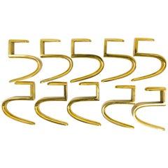 Ten Carl Aubock 5-Shaped Brass Hooks for the Wooden Coat Rack, Austria