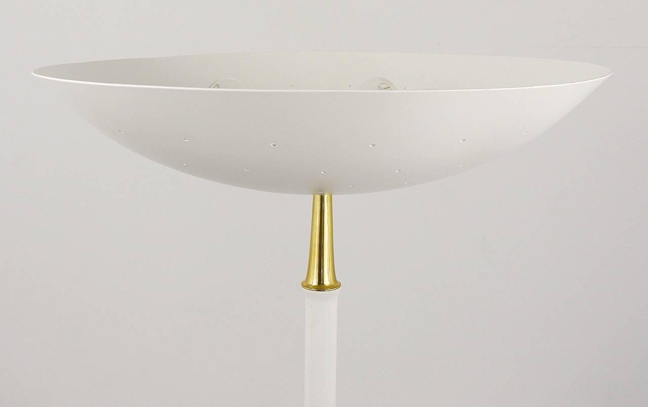 Elegant italian mid century uplight floor lamp arteluce style a beautiful white italian floor lamp in the style of arteluce has a white wooden aloadofball Image collections