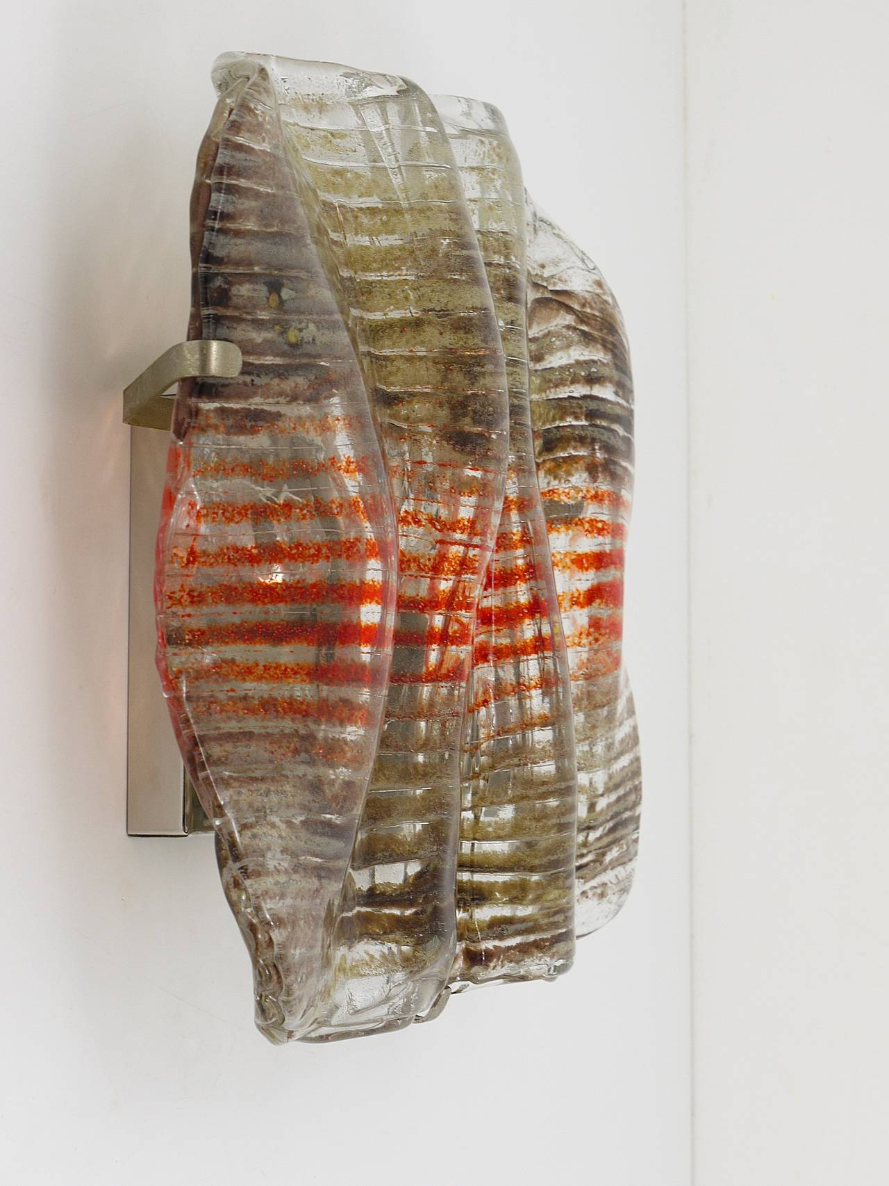 Wall Light Glass Panel : Huge Kalmar Sconce Wall Light with a Striped Murano Glass Panel, 1970s Austria For Sale at 1stdibs