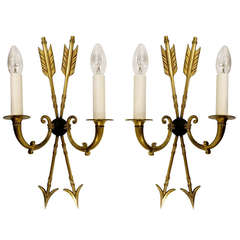 A Pair of Arrow Wall Sconces In The Manner of Maison Charles, France, 1960s