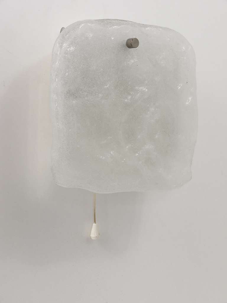 Wall Light Glass Panel : Kalmar Vienna Frosted Ice Glass Panel Sconce Wall Light from 1960s For Sale at 1stdibs