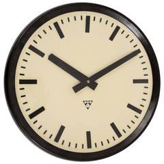 Very Big Bakelite Industrial Train Station Wall Clock, 1940s