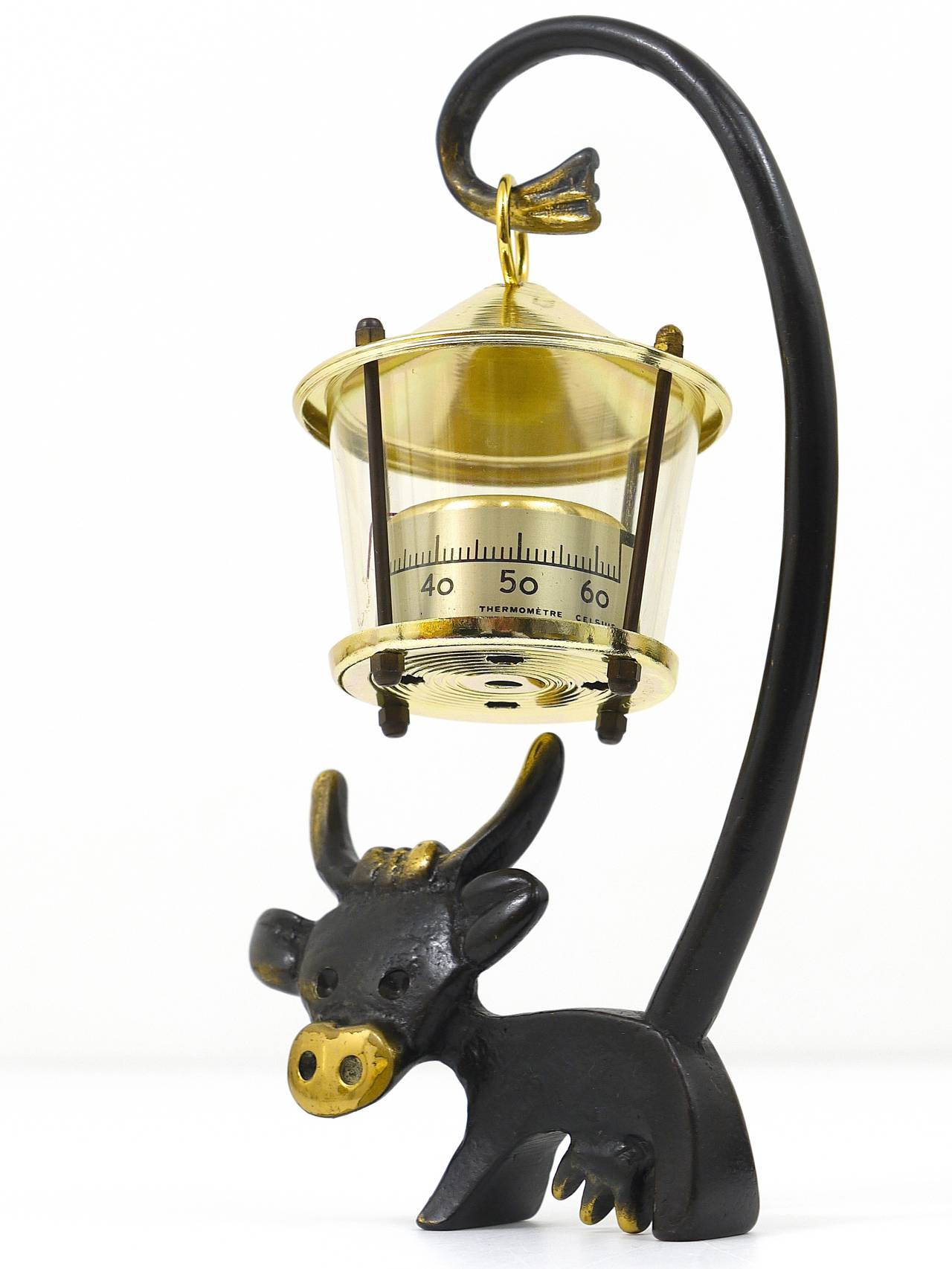Austrian Walter Bosse Cow Figurine with Thermometer by Hertha Baller, Austria, 1950s For Sale