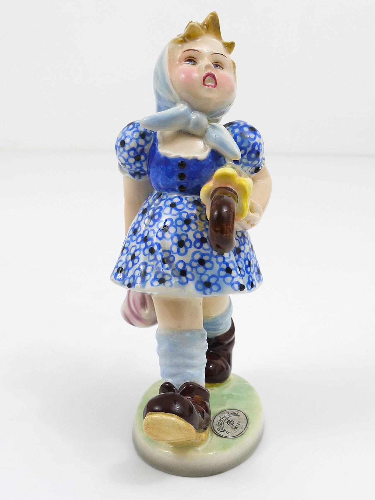 Goldscheider Vienna Figurine Girl with Umbrella, Austria, 1930s For Sale 3