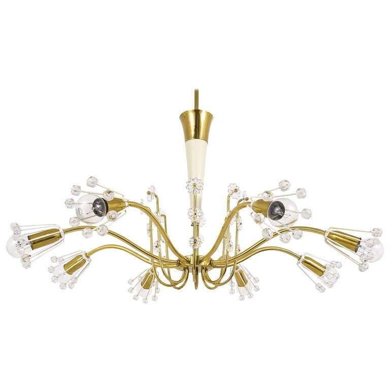 Unusual Viennese Emil Stejnar Brass Crystal Chandelier by Rupert Nikoll Vienna For Sale