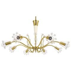 Unusual Viennese Emil Stejnar Brass Crystal Chandelier by Rupert Nikoll Vienna