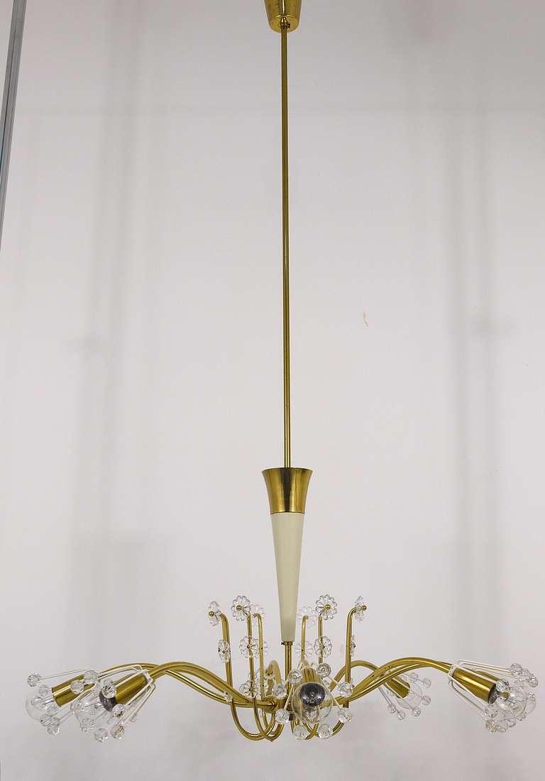 Austrian Unusual Viennese Emil Stejnar Brass Crystal Chandelier by Rupert Nikoll Vienna For Sale