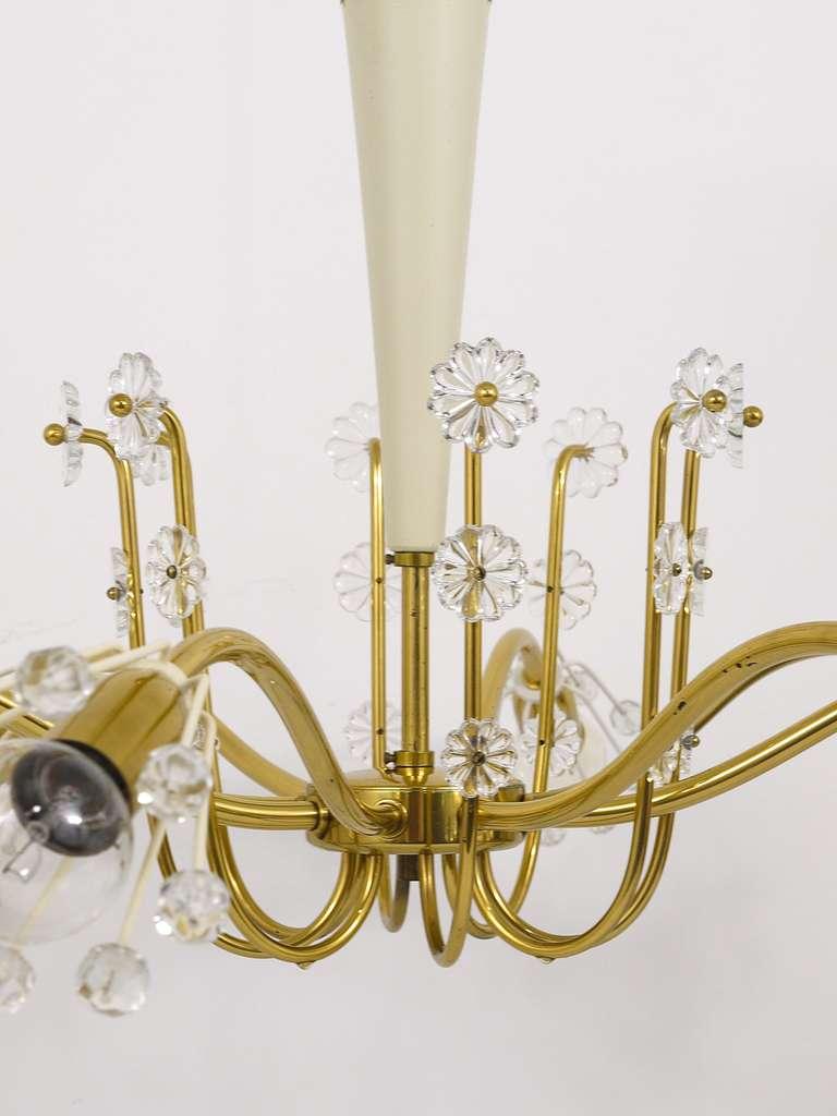 Unusual Viennese Emil Stejnar Brass Crystal Chandelier by Rupert Nikoll Vienna For Sale 2