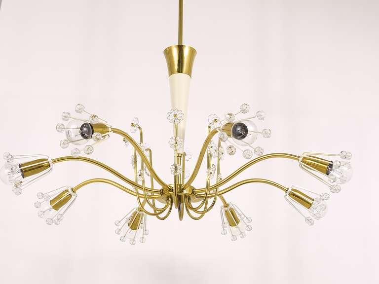 Mid-Century Modern Unusual Viennese Emil Stejnar Brass Crystal Chandelier by Rupert Nikoll Vienna For Sale
