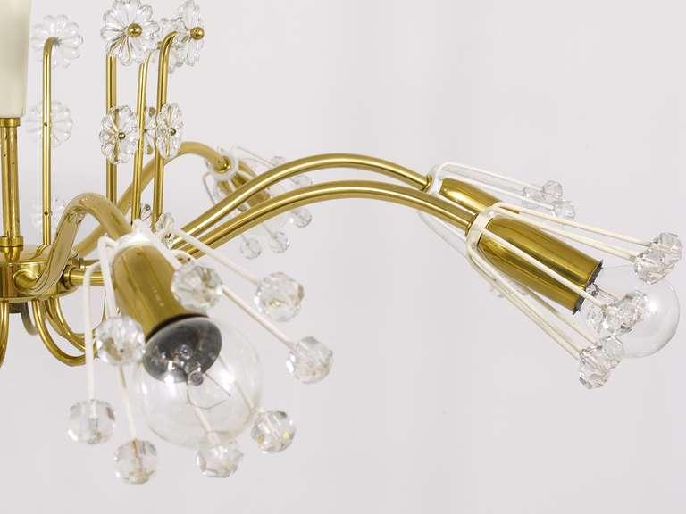 20th Century Unusual Viennese Emil Stejnar Brass Crystal Chandelier by Rupert Nikoll Vienna For Sale