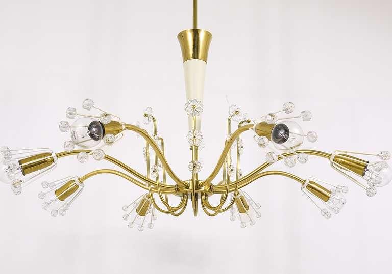 Unusual Viennese Emil Stejnar Brass Crystal Chandelier by Rupert Nikoll Vienna For Sale 1