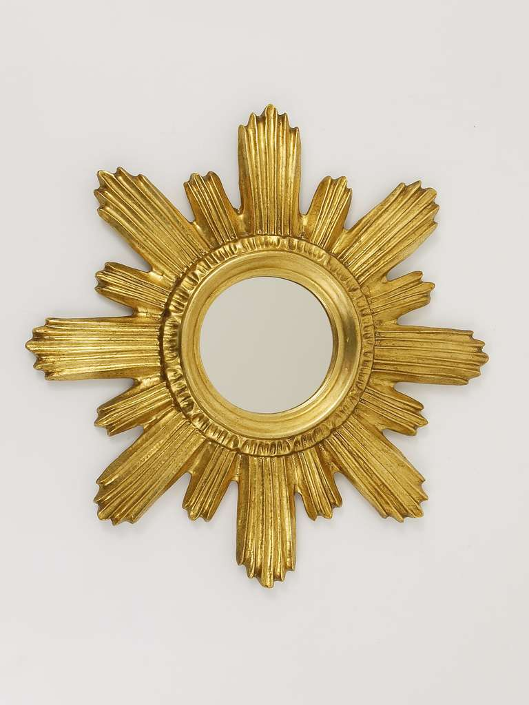 Petite French Gilt Sunburst Starburst Wall Mirror from the 1960\'s at ...