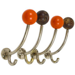 Four Art Deco Wall Hooks, Nickel Plated with Wooden Balls, Austria 1930s