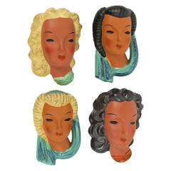 Set of Four Goldscheider Vienna Wall Masks by Adolf Prischl, Austria, 1950s