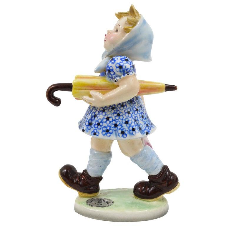 Goldscheider Vienna Figurine Girl with Umbrella, Austria, 1930s For Sale