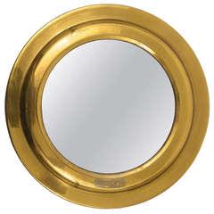 French Round Modernist Brass Mirror, 1950s