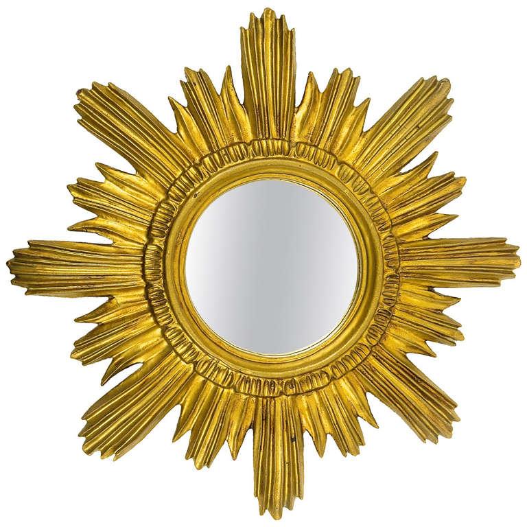 French Gilt Sunburst Starburst Wall Mirror, 1960\'s at 1stdibs