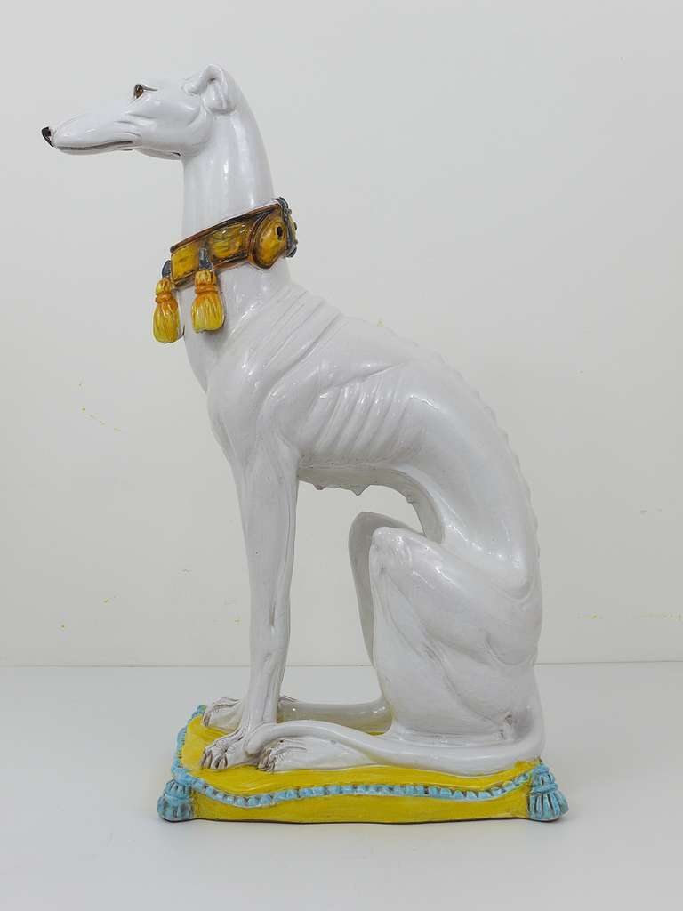 Very Beautiful And Detailed Ceramic Statue Of A White Greyhound With A  Decorative Collar, Seated