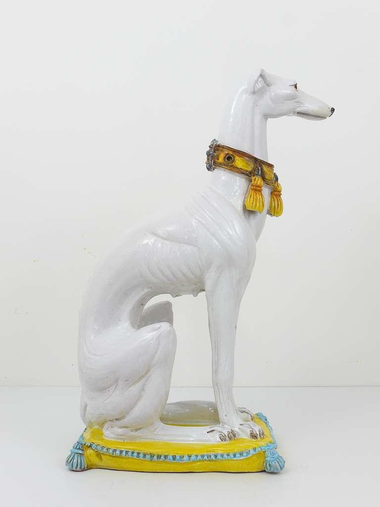 Huge Mid Century Italian Ceramic White Greyhound Statue At