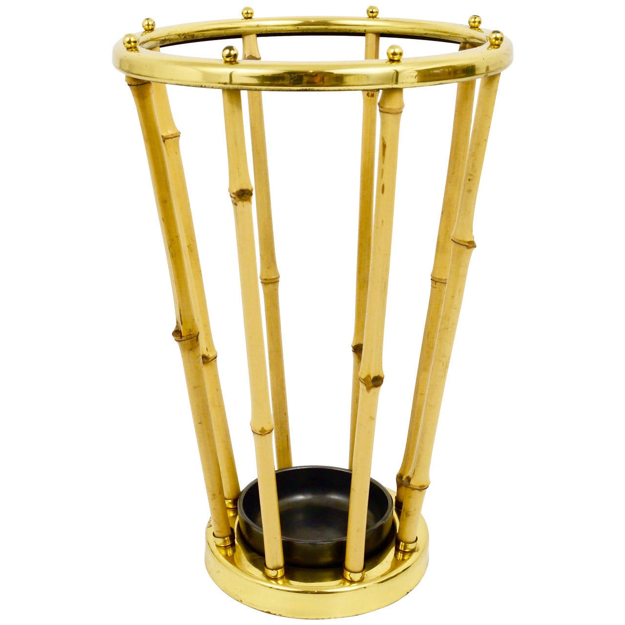 Austrian Modernist Bamboo Brass Umbrella Stand in the Carl Aubock Style, 1950s