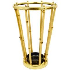 Austrian Modernist Bamboo Brass Umbrella Stand, 1950s