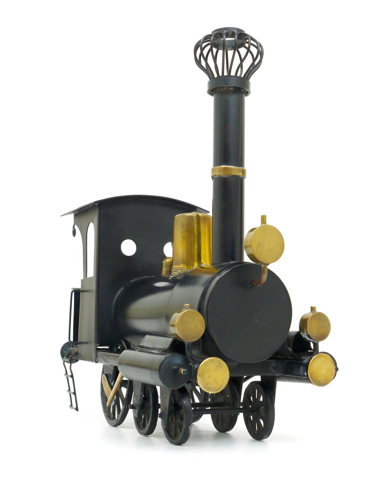 Early 20th Century Rare WHW Hagenauer Brass Locomotive Steam Engine, Austria, 1920s For Sale
