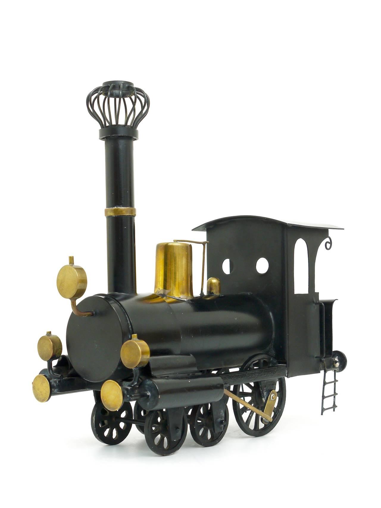 Mid-Century Modern Rare WHW Hagenauer Brass Locomotive Steam Engine, Austria, 1920s For Sale