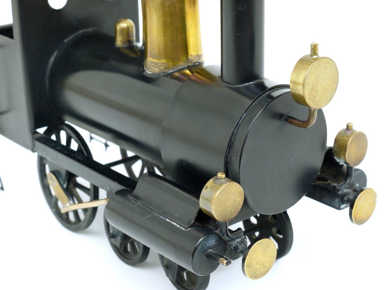 Rare WHW Hagenauer Brass Locomotive Steam Engine, Austria, 1920s For Sale 1