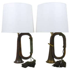 Pair of Brass Trumpet Horn Hunting Table Lamps with White Lampshades, 1950s