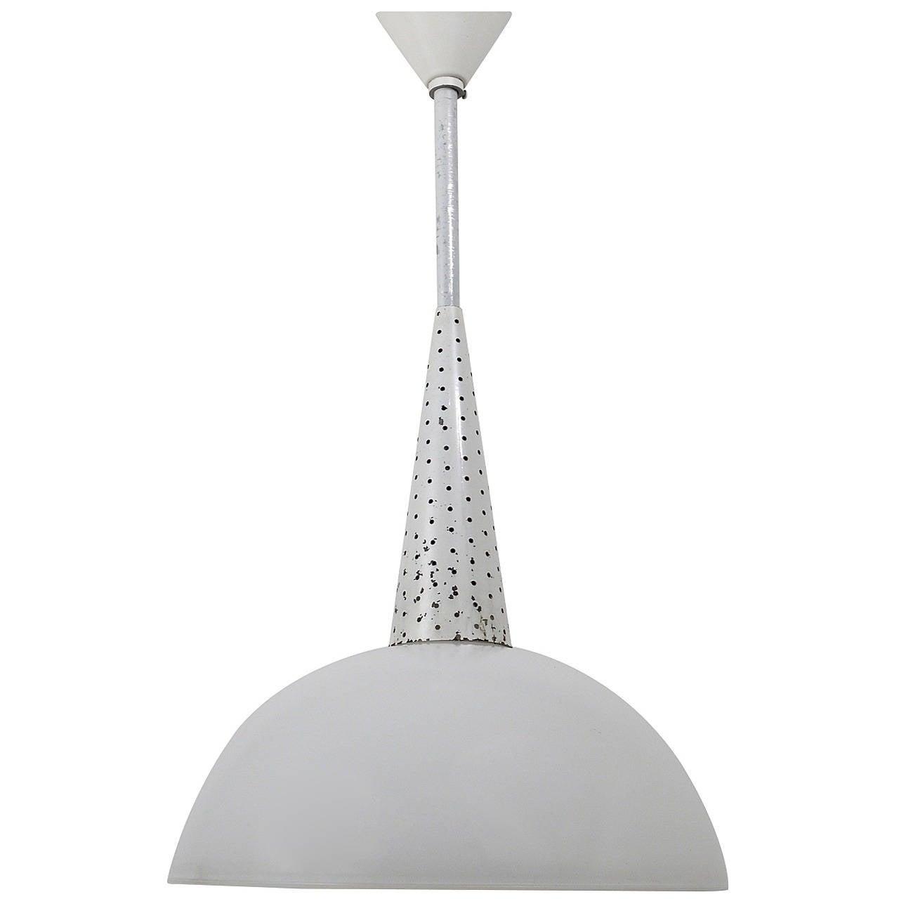 Mathieu Matégot Perforated Pendant Lamp, France, 1950s