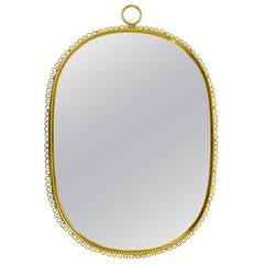 Beautiful Josef Frank Brass Loop Mirror, Austria, 1950s